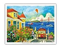 サンフランシスコの精神 - ベイエリア、カリフォルニア州 - ケーブルカー、ゴールデンゲートブリッジ - オリジナルの水彩画からのもの によって作成された ロビン アルトマン - アートポスター - 28cm x 36cm