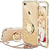 iPhone 6s ケース, iPhone 6 ケース, かわいい リング付 キラキラ 衝撃吸収 スタンド機能 おしゃれ ラインストーン ソフトプロダクション 女子用 アイフォン ケース(ゴールド)