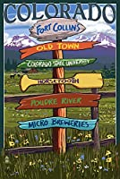 Fort Collins、コロラド–Sign Destinations 12 x 18 Signed Art Print LANT-43067-708