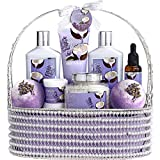Home Spa Gift Baskets for Women & Men - Bath and Body Gift Basket – Spa Set of Lavender Coconut with Salts, Extra Large Bath Bombs, Bath Oil & More - Wrapped in a Handmade Pearl Basket