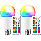 Color Changing LED Light Bulb, 120 Colors, 70 Watt Equivalent, DIY Strobe, Warm White 2700K RGB with Remote Control, LED 10W