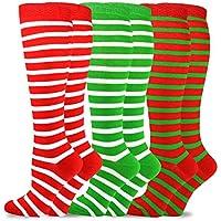 TeeHee Christmas and Holiday Fun Knee High Socks for Women 3-Pack