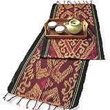 イカット(ロング) F 【インドネシアの飾り布、テーブルランナー タペストリー 壁掛け 箪笥の上掛け】 約180×39cm、和風洋風を問わず便利に使えるインテリアクロス