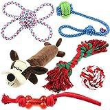 Well Love 犬のおもちゃ - 噛むオモチャ - 100ナチュラルコットンロープ - きしむおもちゃ - 犬のボール - 犬の骨 - ぬいぐるみのおもちゃ - 犬のロープ - 戦争の綱引き - 犬のためのおもちゃ6パックセット