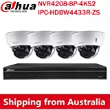 Dahua 4MP Varifocal PoE IP Security Camera System, 2.7mm~13.5mm Motorized 5X Optical Zoom Outdoor Surveillance Camera,4K 8-Ch