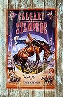 """古いTin Sign 8"""" x 12""""カルガリーStampede Rodeo 1999クラシックVintgeメタルサインMade in the USA"""