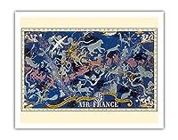 天空のルートPlanisphere - エールフランス - すべての空で - 十二宮 - ビンテージな航空会社のポスター によって作成された ルシアン・ブーシェ c.1938 - アートポスター - 28cm x 36cm