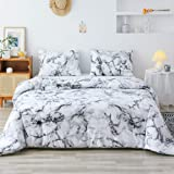 Smoofy Queen Comforter Set, White Marble Pattern Printed Bed Comforter, Soft Fabric with Brushed Microfiber Fill Bedding(1 Co