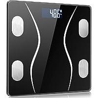 体重計 体脂肪計 体組成計 Bluetooth 薄型 体重/体脂肪率/体水分率/筋肉量/内臓脂肪/タンパク質/BMR/BMIなど測定可能 200g-180kgまで対応 健康管理 ダイエット 体重管理 肥満予防 iPhone/Android 対応 電池付き 日本語説明書付き Lcsriya (黒)