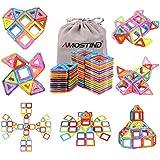 idoot 磁気ブロックセット 56ピース 収納袋付き 組み立て おもちゃ 知育玩具 磁石 積み木 知育 立体 パズル はめ込み [並行輸入品]