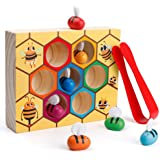 Coogam Toddler Fine Motor Skill Toy, Clamp Bee to Hive Matching Game, Montessori Wooden Color Sorting Puzzle, Early Learning