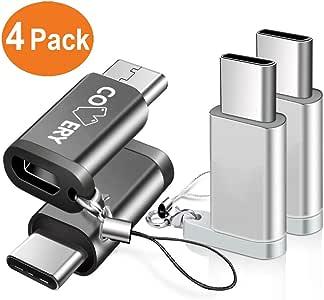 【4点セット】COVERY USB Type C 変換,Micro USB→USB-C変換アダプタ アルミニウム合金製 typeC Quick Charge ChromeBook Pixel、Nexus 5X、Nexus 6P、Nokia N1、samsung s9 、samsung s9 plus、samsung s9+などType-C端末に対応(黒/シルバー)