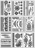 Black Henna Temporary Tattoos for Women Teens Girls - 9 Sheets Black Lace Fake Stickers - Bride Wedding Tattoo Designs Jewellery Tattoos - 100+ Black Flash Realistic Waterproof Transfer