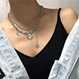 YERTTER 2 Tier Heavy Gothic Grunge Smile Pendant Necklace Statement Short Chain Punk Multilayer Steel Material Choker Necklac