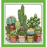 Joy Sunday Stamped Cross Stitch Kits,Cactuses Cross-Stitch Sets Embroidery Kit Needlework 11CT
