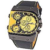 R-STYLE POPなカラーとデザインで存在感抜群 トリプルフェイス アナログ 腕時計 マイクロファイバークロス付きモデル (イエロー クロス付き)