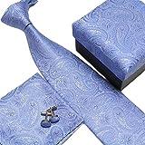 Laquest シルク 100% ネクタイ ポケットチーフ カフスボタン 3点セット 収納BOX 付 (ライトブルーペイズリー(21))
