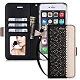 iphone6s plus ケース iphone6plus ケース,WWW? [透かし彫りの花 デザイン] 良質PUレザーケース 横開き 手帳型 カード入れ ストラップ付き 化粧鏡 スタンド機能 マグネット開閉 ブラック