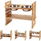 EXPAWLORER Pet Raised Bowls for Dogs and Cats, Draw Design Adjustable Bamboo Elevated Feeder Stand with 2 Stainless Steel Foo