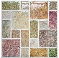 壁のタイルのステッカー4パックの皮とスティックタイルビニールキッチンBacksplashの壁のステッカー、22 cm x 22 cmカラフルな大理石