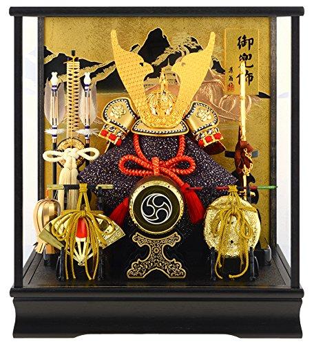 藤翁作 五月人形 兜飾り ケース入り人形 富岳 山水バック オルゴール付 間口38×奥行30×高さ47cm h275-fncp-135-712-NA15