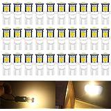 ARMAZENAR 30 Pack Warm White Exchange for Stock # 194 T10 168 2825 W5W 175 158 Bulb 5050 5 SMD LED Light, 12V Interior Lighti