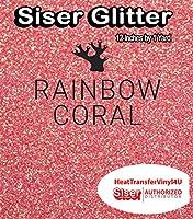Siser Glitter Iron On Heat Transfer Vinyl 12 Inches (Rainbow Coral, 1 Yard)
