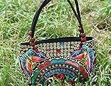 レディース ハンドバッグ 刺繍 トートバッグ エスニック スタイル カジュアル レトロ キャンバスバッグ ショルダー 財布 (Colour1)