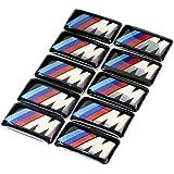Lifepartner BMW M エンブレム シール ホイール ステッカー 17mm x 9mm E90 E91 E92 E93 E82 E87 E60 E. 10個セット (1)