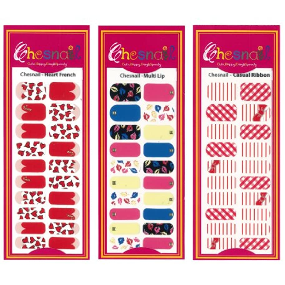 理想的授業料考古学的なチェスネイル ラブ&ビビッド お買い得3枚セット esNAIL AIKO デザイン ネイルシール