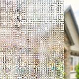 3D窓用フィルム ガラスフィルム 窓めかくしシート 浴室装飾フィルム 目隠し 断熱 紫外線カット 無接着剤 再利用可能 透明フィルム(90 x 200cm) ¥ 1,999