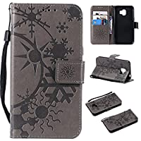 Flip Wallet Case for Samsung Galaxy J2 Pro 2018 財布 Shock Protection with Card Slots Lightweight 電話ケーススリム and Adjustable Stand Grey