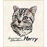 Printon 愛猫ペットの肖像画(一頭 / お顔のみ) 色紙サイズ (デジタル水彩) 作画行程表付き 似顔絵