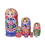 BAOBLADE 7 Pieces Handmade Colorful Wooden Nesting Dolls Set Classical Russian Matryoshka Babushka Toys Kids Children...