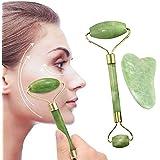 Jade Roller & Gua Sha Set, JR INTL Face Roller Massage Tool, 100% Real Natural Nephrite Jade Roller for Face, Eye, Neck - Ant