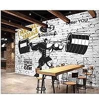 Mrlwy - カスタムジム装飾的な3D壁紙ノスタルジックスポーツフィットネス重量挙げの背景壁用壁紙3d-350X250CM