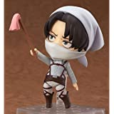Aoemone Attack On Titan Levi·Ackerman Q Version Nendoroid Action Figures Toy with Accessories Movable, Anime Figures Characte