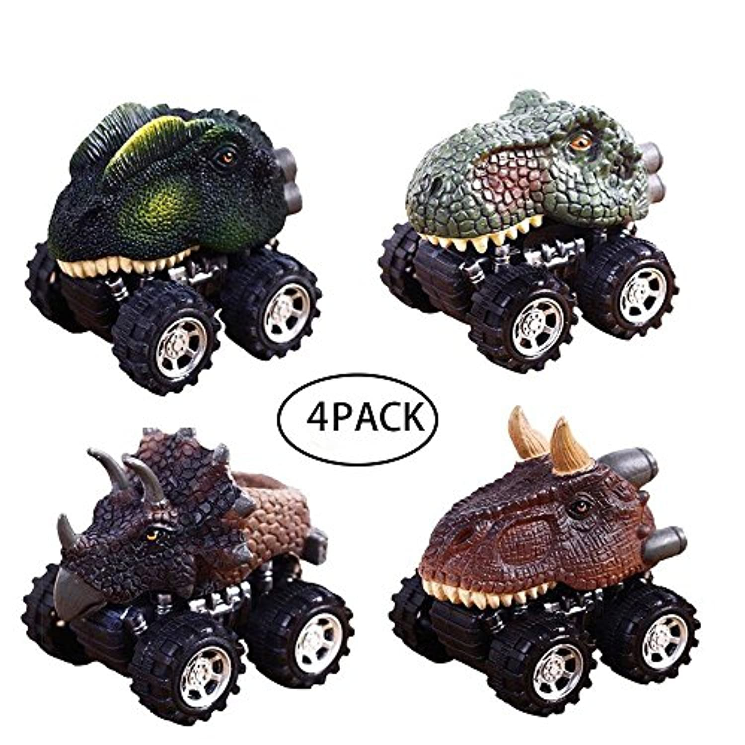 Dinosaur Pull Back Car Vehicle Toy Playsets動物恐竜おもちゃトラックwith Bigホイールタイヤデザインfor Kids Toddlers Funパックof 4
