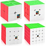 D-FantiX Speed Cube Bundle, Moyu Mofang Meilong 2x2 3x3 4x4 5x5 Stickerless Magic Cube Set with Gift Box