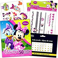 Minnie Mouse Tattoos Party Favor Super Set -- Over 100 Pieces (18 Flash Metallic Jewelry Tattoos Over 50 Standard Temporary Tattoos 40 Jewel Stickers) [並行輸入品]