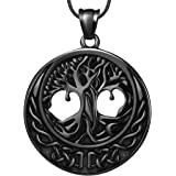 Hipunk Tree of Life Necklace Mens Round 316L Stainless Steel 18K Gold/Black Gun Plated Family Tree Pendant Vintage Fashion Je