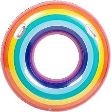 zeldner 120cm ビッグサイズ 虹色浮き輪 レインボー 浮き輪 フロート 大人用 カラフル カラフルフロート プール ビーチ