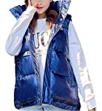 Qiangjinjiu Women Sleeveless Metallic Down Jacket Vest