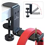 APPHOME Upgrade Foldable Headphone Stand Under Desk PC Gaming Headset Hanger Holder Hook Clamp with Built in Cable Clip Organ