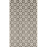 RUGGABLE Washable Indoor/Outdoor Stain Resistant Area Rug 2pc Set (Cover and Pad) Floral Tiles Rich Grey & White (91 x 152cm)
