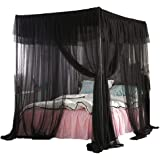 Mengersi Princess 4 Corners Post Bed Canopy Bed Curtains Mosquito Netting, 100% Polyester, Black, Queen