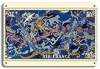 22cm x 30cmヴィンテージハワイアンティンサイン - 天空のルートPlanisphere - エールフランス - すべての空で - 十二宮 - ビンテージな航空会社のポスター によって作成された ルシアン・ブーシェ c.1938