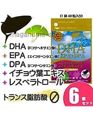 DHA+EPA+DPA+レスベラトロール+イチョウ葉エキス 6個セット