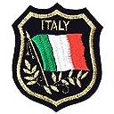 刺繍ワッペン エンブレムパッチ 世界国旗シールド-F ブラック (イタリアF)