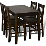 Tidyard Wooden Dining Table with 4 Chairs Kitchen Dining Set 4 Person Dining Table with Chairs Wooden Set Home Dinette Furnit